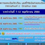 กำหนดการลงทะเบียนวิชาเรียน 2/2560